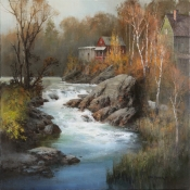 Late October Rapids, VT  Oil on Canvas